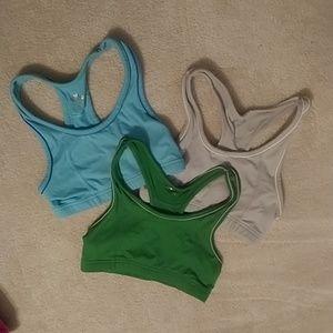 Three Old Navy Sports Bras - Gray, Blue, Green XS